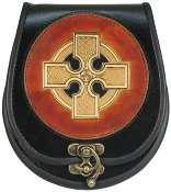 Leather painted Celtic Cross Sporran