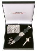 Masonic Kilt Pin, Belt Buckle, Sgian Dubh and Cufflinks Gift Set