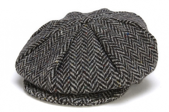 Eight Piece Tweed Cap Herringbone Black