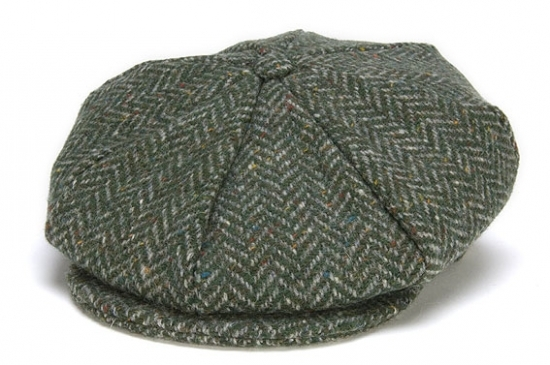 Eight Piece Tweed Cap Herringbone Green