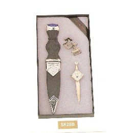Masonic Sgian Dubh, Masonic Kilt Pin and Masonic Cufflinks gift set