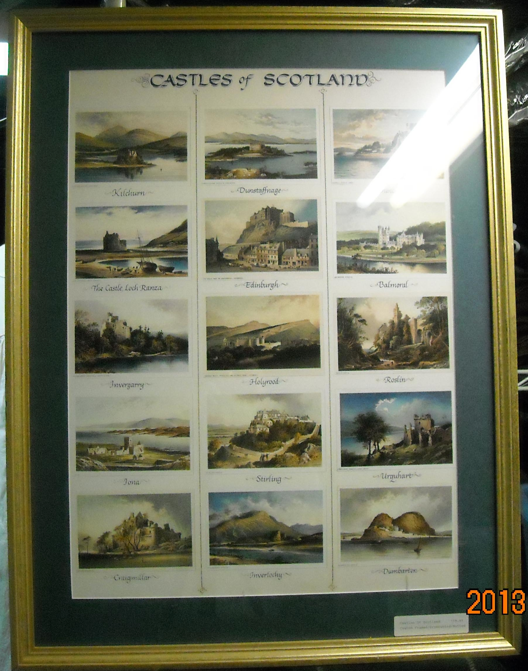 Framed Illustrated Castles of Scotland Picture