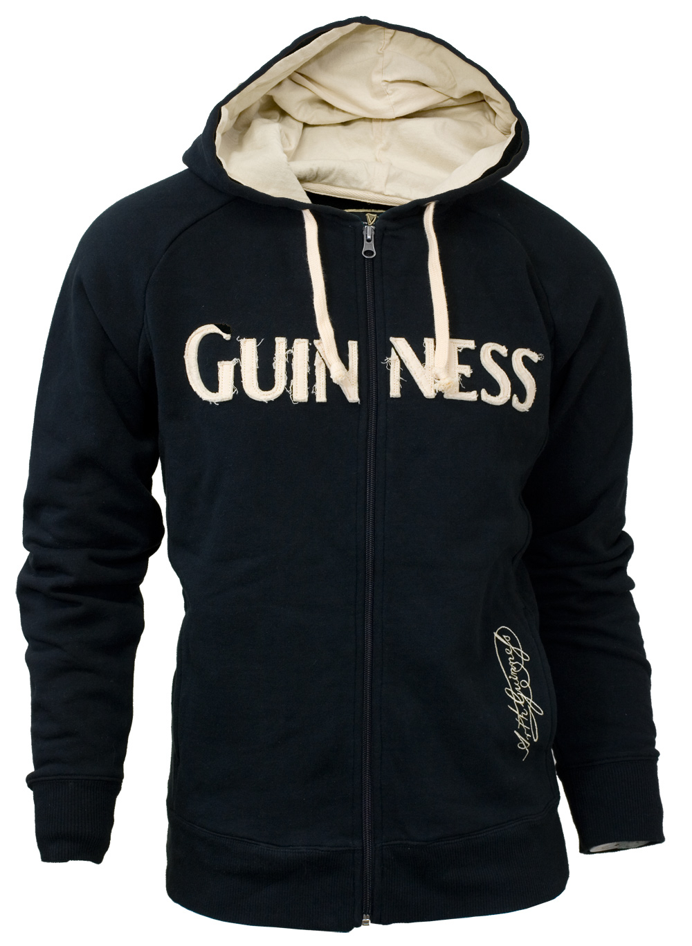 Guinness Black Zip Hoodie with Applique
