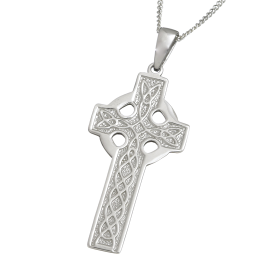 Large Silver Celtic Cross Pendent