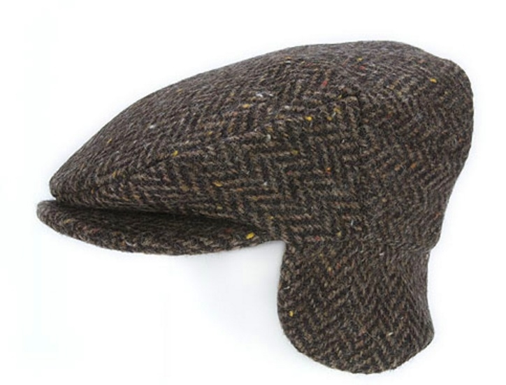 Flat Cap with Ear Flaps Brown Herringbone