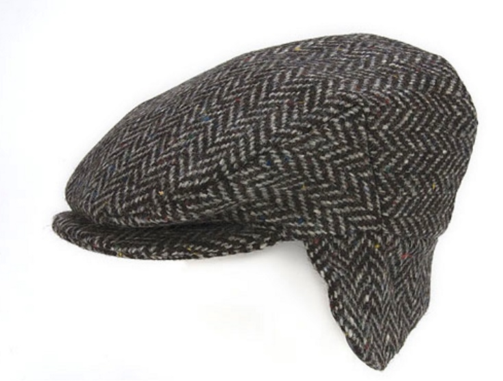Flat Cap with Ear Flaps Black Herringbone