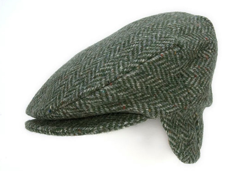 Flat Cap with Ear Flaps Green Herringbone