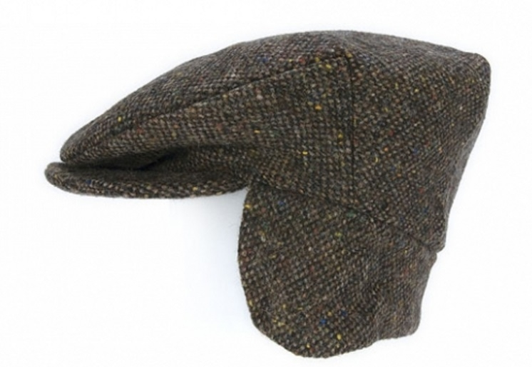 Flat Cap with Ear Flaps Brown Salt & Pepper