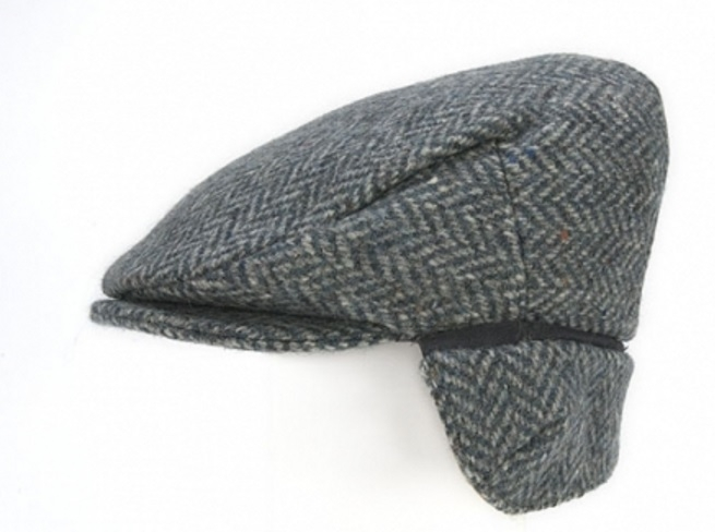 Flat Cap with Ear Flaps Blue Herringbone