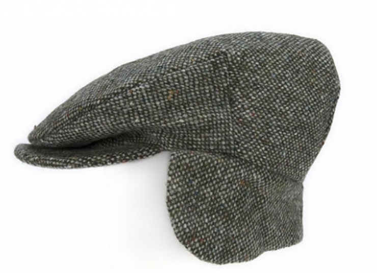 Flat Cap with Ear Flaps Grey Salt & Pepper