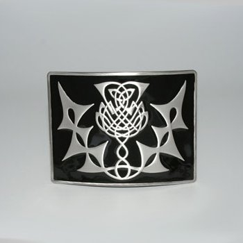 Highland Thistle Black Enamel Kilt Buckle - Antique