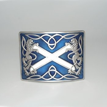 Highland Saltire Blue Enamel Kilt Belt Buckle - Antique