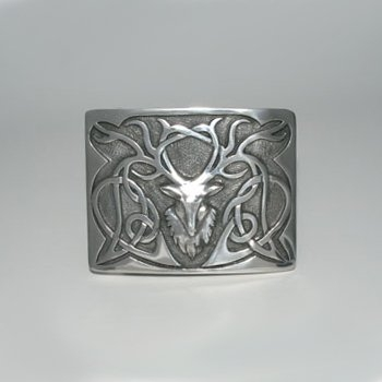 Stag Kilt Belt Buckle - Polished Pewter