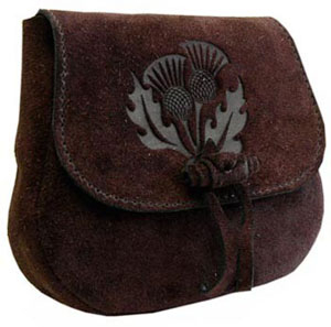 Leather Druids Pouch-Thistle Design