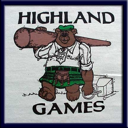 Highland Games is screen-printed on a Natural colored Fruit of the Loom 5.6 oz. Pre-shrunk 100% heavy cotton T-shirt.