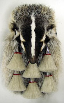 Badger Head On Full Mask Formal Fur Sporran with Chrome Hardware