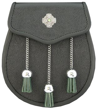 """The Celt"" Green Stone Leather Sporran"