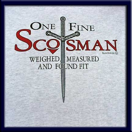 One Fine Scotsman is screen printed on an Ash colored Fruit of the Loom 5.6 oz. pre-shrunk 100% heavy cotton T-shirt.
