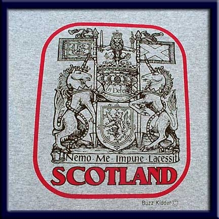 Scotland is screen-printed on an Athletic Gray colored Fruit of the Loom 5.6 oz. pre-shrunk 100% heavy cotton T-shirt.