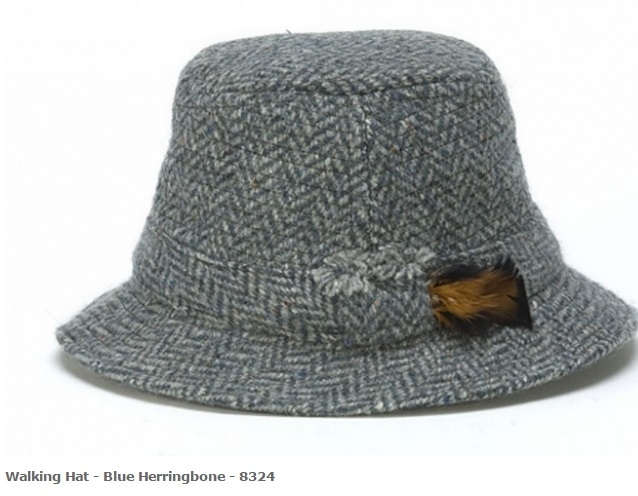 Walking Hat Blue Herringbone