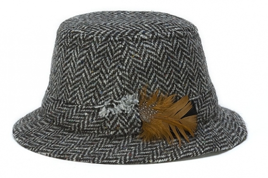 Walking Hat Herringbone Black