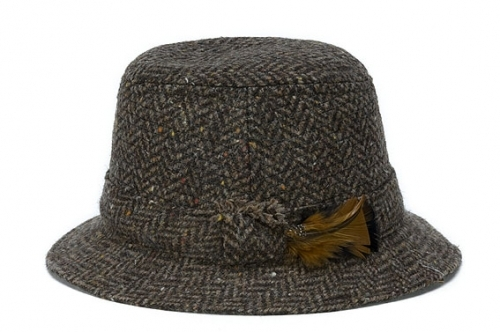 Walking Hat Herringbone Brown