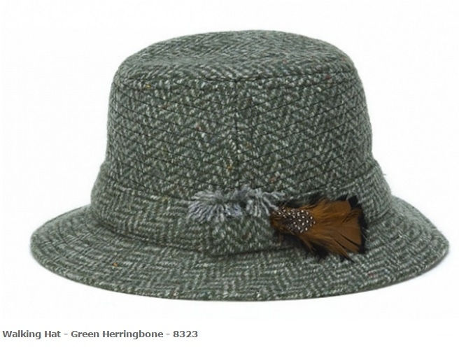 Walking Hat Green Herringbone