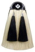 White Horse Hair Pipe Band Sporran with Black Tassels