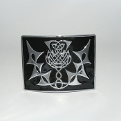 Highland Thistle Black Enamel Kilt Buckle - Chrome