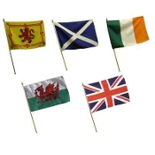 "Large Scottish, Irish, Wales or UK Hand Flags - 12"" x 18"""