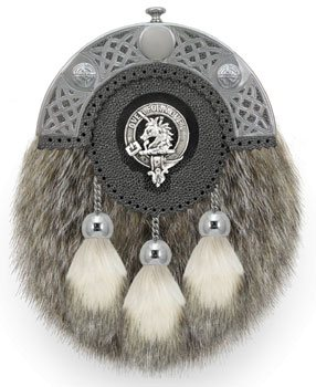Clan Crest Dress Badger Fur Sporran