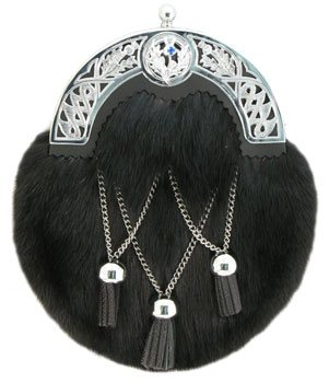 Black Muskrat fur sporran jeweled cantle